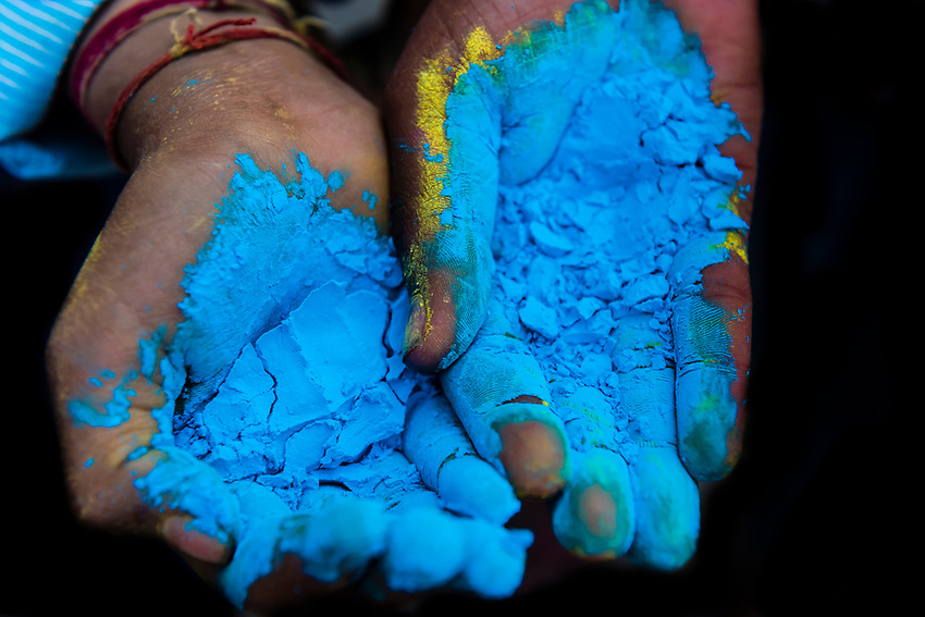 Colored powders that are thrown at people, Holi (Festival of Colors), Mathura, Uttar Pradesh, India.