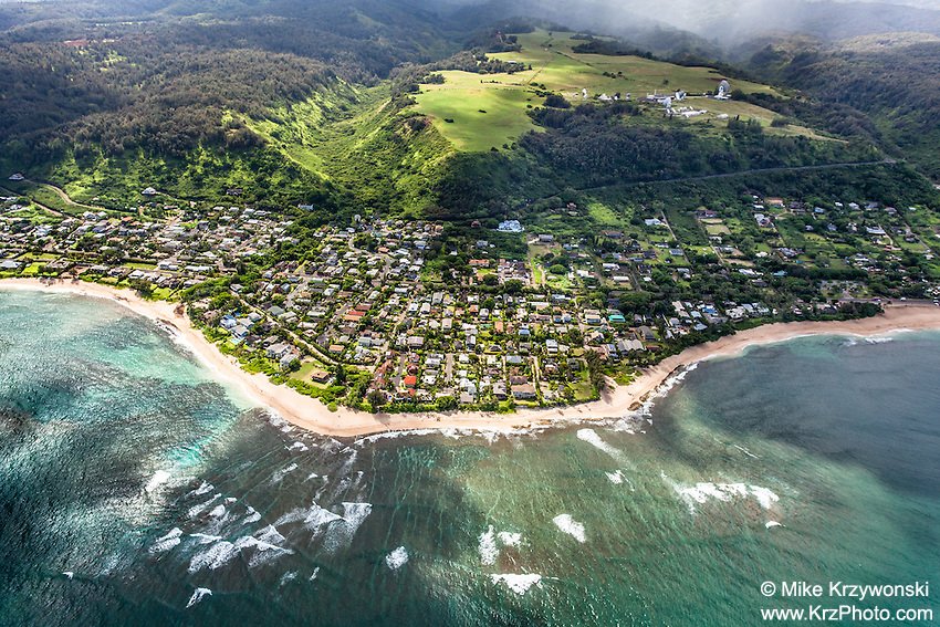 Aerial view of Sunset Beach, North Shore, Oahu
