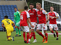 Ched Evans celebrates scoring the opening goal with Kyle Dempsey &amp; Jason Holt<br /> <br /> Photographer David Shipman/CameraSport<br /> <br /> The EFL Sky Bet League One - Oxford United v Fleetwood Town - Saturday August 11th 2018 - Kassam Stadium - Oxford<br /> <br /> World Copyright &copy; 2018 CameraSport. All rights reserved. 43 Linden Ave. Countesthorpe. Leicester. England. LE8 5PG - Tel: +44 (0) 116 277 4147 - admin@camerasport.com - www.camerasport.com