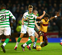 5th February 2020; Fir Park, Motherwell, North Lanarkshire, Scotland; Scottish Premiership Football, Motherwell versus Celtic; Scott Brown of Celtic and Rolando Aarons of Motherwell challenge for the ball