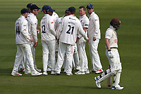 Peter Siddle of Essex celebrates with his team mates after taking the wicket of Ollie Pope during Surrey CCC vs Essex CCC, Specsavers County Championship Division 1 Cricket at the Kia Oval on 11th April 2019