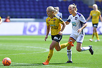 20190810 - ANDERLECHT, BELGIUM : Anderlecht's Sarah Wijnants pictured running behind LSK's Emilie Woldvik (left) during the female soccer game between the Belgian RSCA Ladies – Royal Sporting Club Anderlecht Dames  and the Norwegian LSK Kvinner Fotballklubb ladies , the second game for both teams in the Uefa Womens Champions League Qualifying round in group 8 , saturday 10 th August 2019 at the Lotto Park Stadium in Anderlecht  , Belgium  .  PHOTO SPORTPIX.BE for NTB NO | DAVID CATRY