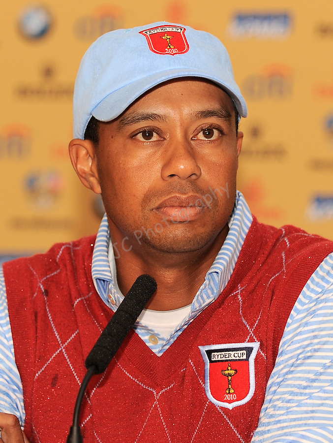 USA's Tiger Woods during Press Conference ..Ryder Cup 2010 - Practice day 1 - 28th September 2010 - Celtic Manor Resort Newport, Wales.  Please Credit - Ian Cook - www.ijcsports.co.uk