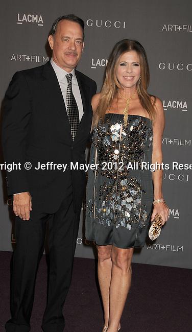 LOS ANGELES, CA - OCTOBER 27: Tom Hanks and Rita Wilson arrive at LACMA Art + Film Gala at LACMA on October 27, 2012 in Los Angeles, California.