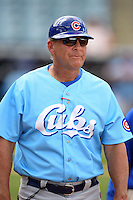 Daytona Cubs manager Dave Keller (28) during a game against the Tampa Yankees  on April 13, 2014 at George M. Steinbrenner Field in Tampa, Florida.  Tampa defeated Daytona 7-3.  (Mike Janes/Four Seam Images)