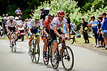 Giulio Ciccone (ITA) Trek-Segafredo leads the remaining breakaway riders up La Planche des Belles Filles during Stage 6 of the 2019 Tour de France running 160.5km from Mulhouse to La Planche des Belles Filles, France. 11th July 2019.<br /> Picture: ASO/Pauline Ballet | Cyclefile<br /> All photos usage must carry mandatory copyright credit (© Cyclefile | ASO/Pauline Ballet)