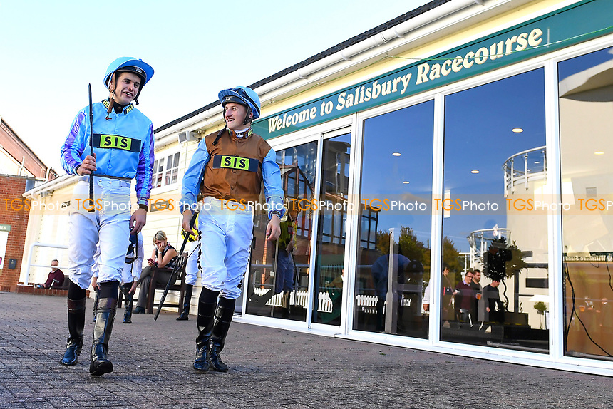 Ryan Tate and Tom Marquand leave the Weighing Room during Afternoon Racing at Salisbury Racecourse on 3rd October 2018