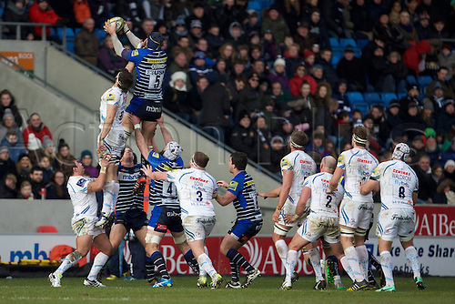 13.02.2016. AJ Bell Stadium, Salford, England. Aviva Premiership. Sale versus Exeter Chiefs. Sale Sharks lock Andrei Ostrikov wins a line out from Exeter Chiefs lock Geoff Parling.