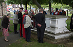 Nepton Distribution Barking Essex 2019.  Beneficiaries and dignitaries make their way to the Nepton Tomb, in the churchyard where a prayer is said and a wreath is placed on the tomb.<br />