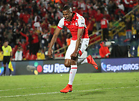 BOGOTÁ- COLOMBIA, 01-09-2019:Fainer Torijano jugador del Independiente Santa Fe  celebra después de anotar un gol  al Independiente Medellín durante partido por la fecha 9 de la Liga Águila II  2019 jugado en el estadio Nemesio Camacho El Campín  de la ciudad de Bogotá. /Fainer Torijano player of Independiente Santa Fe celebrates   after scoring a goal agaisnt of Independiente Medellin  during the match for the date 9 of the Liga Aguila II 2019 played at the Nemesio Camacho El Campin  stadium in Bogota city. Photo: VizzorImage / Felipe Caicedo / Staff