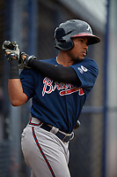 Atlanta Braves Luis Mejia (23) during a Minor League Spring Training game against the New York Yankees on March 12, 2019 at New York Yankees Minor League Complex in Tampa, Florida.  (Mike Janes/Four Seam Images)