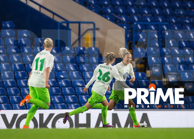 Zsanett Jakabfi (right) of VfL Wolfsburg (women) celebrates her goal during the UEFA Women's Champions League match between Chelsea Ladies and VfL Wolfsburg at Stamford Bridge, London, England on 5 October 2016. Photo by Andy Rowland.
