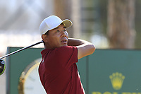 Ashun Wu (CHN) tees off the 1st tee during Friday's Round 2 of the 2018 Turkish Airlines Open hosted by Regnum Carya Golf &amp; Spa Resort, Antalya, Turkey. 2nd November 2018.<br /> Picture: Eoin Clarke | Golffile<br /> <br /> <br /> All photos usage must carry mandatory copyright credit (&copy; Golffile | Eoin Clarke)