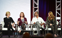 "PASADENA, CA - JANUARY 30: (L-R) Executive Producers Caitlin Parrish, Erica Weiss, Sunil Nayar, and Sarah Schechter of ""The Red Line"" attend the CBS portion of the 2019 Television Critics Association Winter Press Tour at the Langham Huntington on January 30, 2019, in Pasadena, California. (Photo by Frank Micelotta/PictureGroup)"