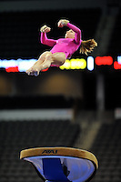 02/20/09 - Photo by John Cheng for USA Gymnastics.  US gymnast Mackenzie Caquatto performs on Vault in a meet against Japan before the Tyson American Cup at Sears Centre Arena in Chicago.