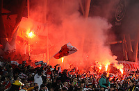 29th March 2015; UEFA EURO 2016 Championship Qualifier Group D, Ireland vs Poland, Aviva Stadium, Dublin<br /> Poland fans light flares.<br /> Picture credit: Tommy Grealy/actionshots.ie.