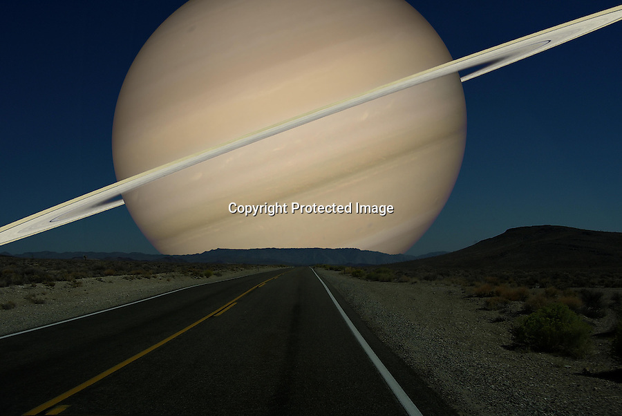 BNPS.co.uk (01202 558833)<br /> Pic:RonMiller/BNPS<br /> <br /> ***Please use full byline***<br /> <br /> Saturn and its rings would cover almost 18 degrees of the night sky. <br /> <br /> An astronomical artist has created eye-opening illustrations imagining what the night sky would look like if the moon was replaced by the other planets in the solar system.<br /> <br /> Space expert Ron Miller dedicated hours to painstakingly recreating seven out-of-this-world scenes highlighting the sheer size of the planets.<br /> <br /> Ron, a former art director for NASA, used digital trickery to superimpose scale drawings of Mercury, Venus, Mars, Jupiter, Saturn, Uranus and Neptune over the same landscape.<br /> <br /> The incredible drawings imagine each planet to be 233,812 miles from Earth - the same distance at which the moon orbits.<br /> <br /> Enormous planet Jupiter, around 11 times the size of Earth, would dominate the skies while Mars would appear to be around twice the size of the moon.<br /> <br /> Venus, the smallest of the planets, is still 3.5 times bigger than the moon while Saturn would be so huge its iconic rings would stretch from horizon to horizon.