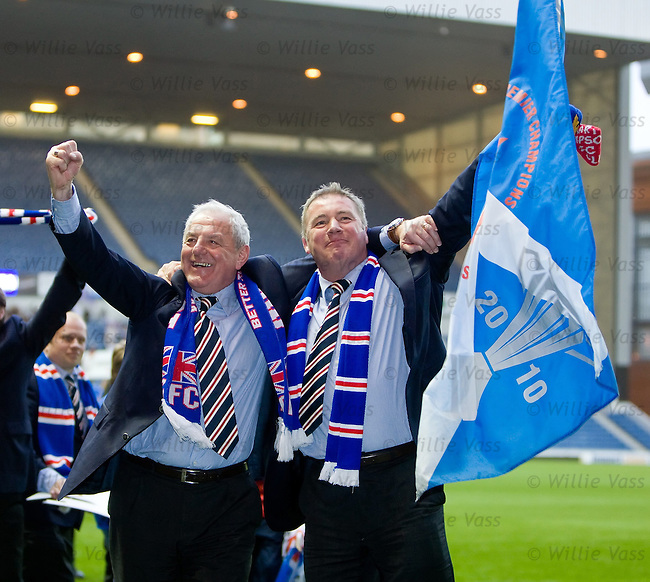 Ally McCoist and Walter Smith salute the loyal fans waiting at Ibrox