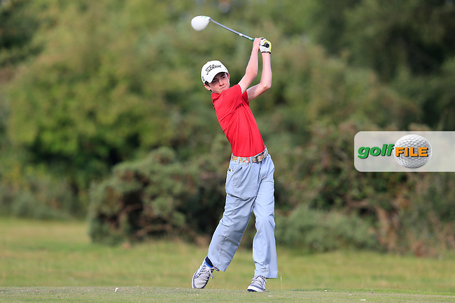 Conor Meade (East Clare) on the 18th tee during the first round of the Irish U16 Championship at The Heath Golf Club, Portlaoise, Co Laois  Ireland.  19/08/2015.<br /> Picture: Golffile | Fran Caffrey<br /> <br /> <br /> All photo usage must carry mandatory copyright credit (&copy; Golffile | Fran Caffrey)