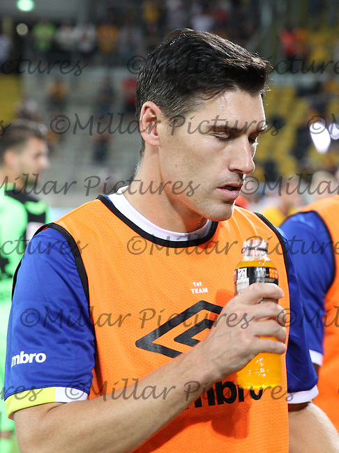 Gareth Barry has a drink after his half time warm up in the Dynamo Dresden v Everton match in the Bundeswehr Karriere Cup Dresden 2016 played at the DDV Stadion, Dresden on 29.7.16.