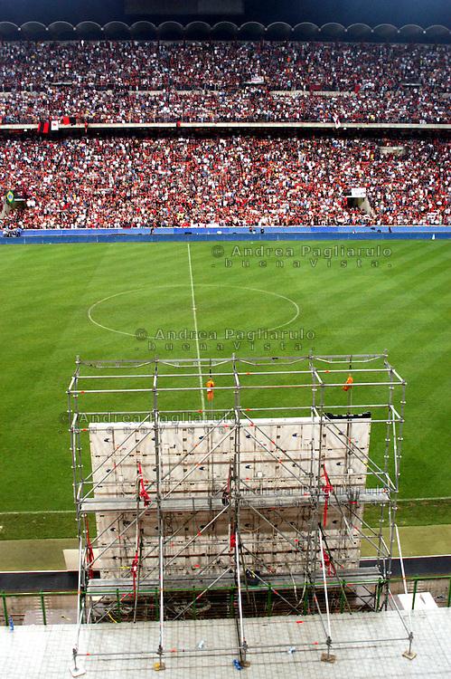 Italia, Milano, Stadio San Siro. Diretta su maxischermo della partita.
