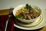 Braised wild hare with egg noodles and vegetables