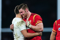 Ben Youngs of England and Dan Lydiate of Wales embrace after the match. RBS Six Nations match between England and Wales on March 12, 2016 at Twickenham Stadium in London, England. Photo by: Patrick Khachfe / Onside Images