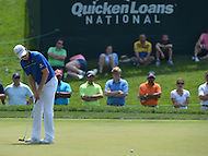 Bethesda, MD - June 28, 2014: Justin Rose putts on hole 10 go left in Round 3 of the Quicken Loans National at the Congressional Country Club in Bethesda, MD, June 28, 2014.  (Photo by Don Baxter/Media Images International)