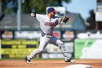 Auburn Doubledays third baseman Paul Panaccione (9) throws to first during the first game of a doubleheader against the Batavia Muckdogs on September 4, 2016 at Dwyer Stadium in Batavia, New York.  Batavia defeated Auburn 1-0 in a continuation of a game started on August 13. (Mike Janes/Four Seam Images)