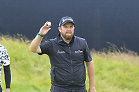 Shane Lowry (IRL) sinks his putt on the 17th green during Sunday's Final Round of the 148th Open Championship, Royal Portrush Golf Club, Portrush, County Antrim, Northern Ireland. 21/07/2019.<br /> Picture Eoin Clarke / Golffile.ie<br /> <br /> All photo usage must carry mandatory copyright credit (© Golffile | Eoin Clarke)