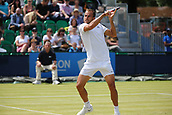 June 16th 2017, Nottingham, England; ATP Aegon Nottingham Open Tennis Tournament day 5;  Marius Copil of Romania plays a back hand volley n his match against Bjorn Fratangelo of USA
