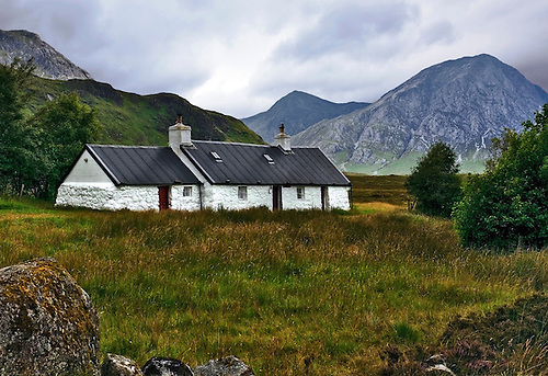 Black Rock Cottage, well known to hikers and photographers is located in Glen Coe, Scotland.  This pictorial was taken under an overcast sky.