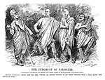 """The Judgment of Parisette. [Lord Haldane, Sir Edward Grey and Mr Lloyd George compete for the championship of the womens cause.] Militant Suffragist. """"Now, let me see, which of these three is my best friend, that I may hurl the apple at him?"""""""