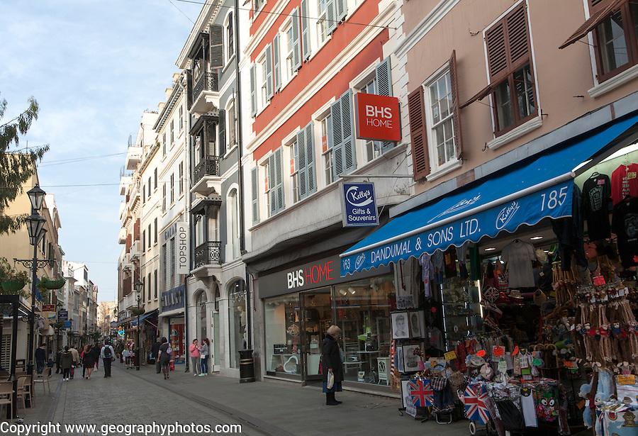 Shops  in Main Street, Gibraltar, British terroritory in southern Europe