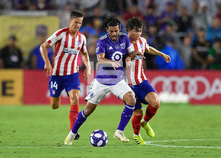 Orlando, FL - Wednesday July 31, 2019:  Carlos Vela #10, Rodrigo Riquelme #32 during the Major League Soccer (MLS) All-Star match between the MLS All-Stars and Atletico Madrid at Exploria Stadium.