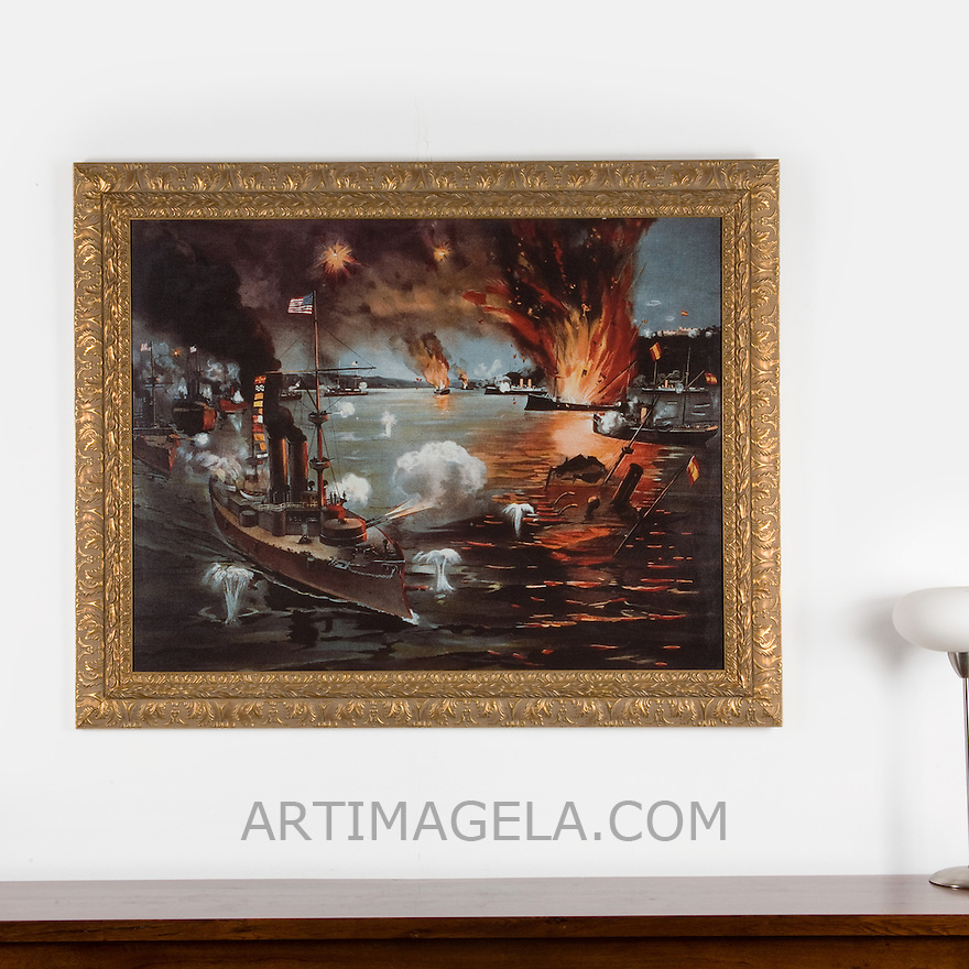 "Spanish-American War. Phillipines: The Battle of Manila, 1898, Digital Print, Image Dims. 34"" x 45"", Framed Dims. 43"" x 53"""