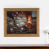 "Spanish-American War. Phillipines: The Battle of Manila, 1898, Digital Print, Image Dims. 34"" x 45"", Framed Dims. 43"" x 53"""