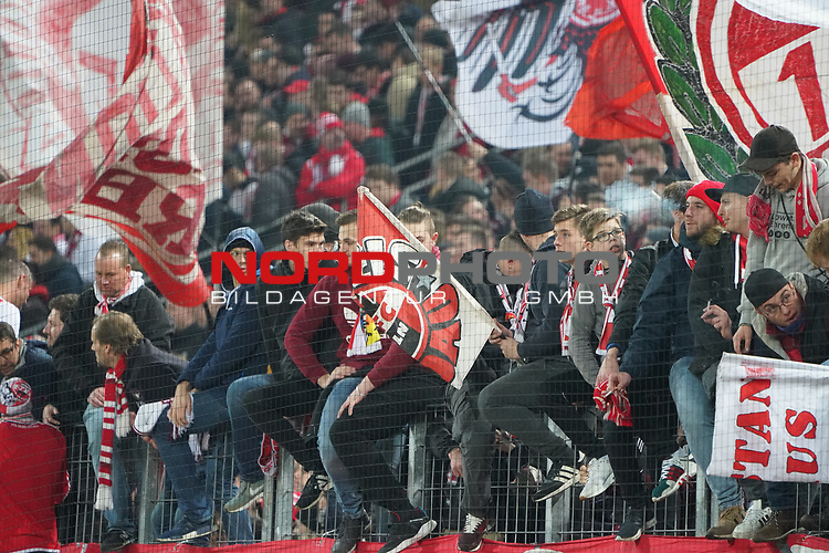 08.02.2019, RheinEnergieStadion, Koeln, GER, 2. FBL, 1.FC Koeln vs. FC St. Pauli,<br />  <br /> DFL regulations prohibit any use of photographs as image sequences and/or quasi-video<br /> <br /> im Bild / picture shows: <br /> Fans, freundlich, Stimmung, farbenfroh, Nationalfarbe, geschminkt, Emotionen, koelner<br /> <br /> Foto &copy; nordphoto / Meuter