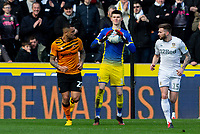 Leeds United's Illan Meslier in action<br /> <br /> Photographer Alex Dodd/CameraSport<br /> <br /> The EFL Sky Bet Championship - Hull City v Leeds United - Saturday 29th February 2020 - KCOM Stadium - Hull<br /> <br /> World Copyright © 2020 CameraSport. All rights reserved. 43 Linden Ave. Countesthorpe. Leicester. England. LE8 5PG - Tel: +44 (0) 116 277 4147 - admin@camerasport.com - www.camerasport.com