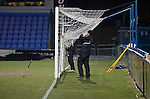 Macclesfield Town 0 Gateshead 4, 22/02/2013. Moss Rose, Football Conference. The ground staff hanging up goal netting after the final whistle as Macclesfield Town  host Gateshead at Moss Rose in a Conference National fixture. The visitors from the North East who were in the relegation zone, shocked Macclesfield with four first half goals and won 4-0 in front of 1467 fans. Both teams were former members of the Football league, with Macclesfield dropping out in 2012. Photo by Colin McPherson.