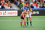 The Hague, Netherlands, June 10: Katie O'Donnell #16 of USA and Quanita Bobbs #28 of South Africa look on during the field hockey group match (Women - Group B) between USA and South Africa on June 10, 2014 during the World Cup 2014 at GreenFields Stadium in The Hague, Netherlands. Final score 4-2 (1-0) (Photo by Dirk Markgraf / www.265-images.com) *** Local caption ***