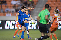 Houston, TX - Sunday Sept. 25, 2016: Keelin Winters, Morgan Brian during a regular season National Women's Soccer League (NWSL) match between the Houston Dash and the Seattle Reign FC at BBVA Compass Stadium.