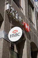 HSBC logos are seen in Toronto financial district April 20, 2010. HSBC Holdings plc is a United Kingdom-based public limited company incorporated in the UK in 1990 following its name change from The Hongkong and Shanghai Banking Corporation, and headquartered in London since 1993.
