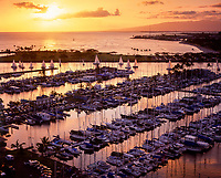 Ala Wai Harbor at Sunset, Waikiki, Honolulu, Oahu, Hawaii, USA.