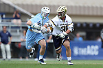 DURHAM, NC - APRIL 30: Notre Dame's P.J. Finley (31) and UNC's Riley Graham (left). The University of North Carolina Tar Heels played the University of Notre Dame Fighting Irish on April 30, 2017, at Koskinen Stadium in Durham, NC in a 2017 ACC Men's Lacrosse Tournament Championship match. UNC won the game 14-10.