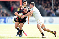 Jamie George of Saracens takes on the Wasps defence. Aviva Premiership match, between Saracens and Wasps on October 8, 2017 at Allianz Park in London, England. Photo by: Patrick Khachfe / JMP