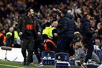 5th November 2019; Stamford Bridge, London, England; UEFA Champions League Football, Chelsea Football Club versus Ajax; Chelsea Manager Frank Lampard celebrates the disallowed goal from Cesar Azpilicueta - Editorial Use