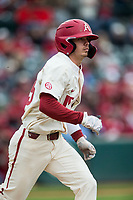 NWA Democrat-Gazette/BEN GOFF @NWABENGOFF<br /> Casey Martin, Arkansas shortstop, runs after hitting a single in the 3rd inning vs LSU Saturday, May 11, 2019, at Baum-Walker Stadium in Fayetteville.