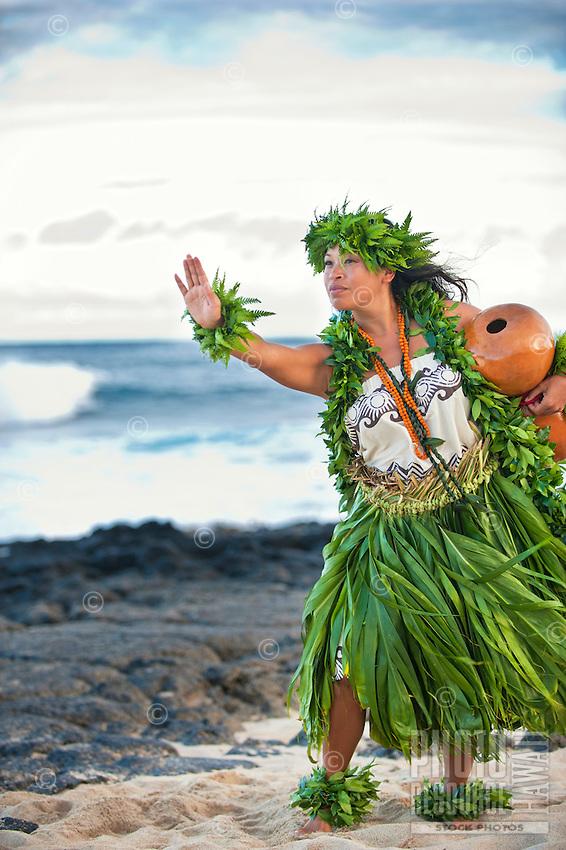 Kahiko hula dancer with ipu (gourd) by the ocean, O'ahu.