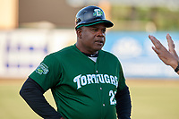 Daytona Tortugas coach Lenny Harris before a Florida State League game against the Palm Beach Cardinals on April 11, 2019 at Roger Dean Stadium in Jupiter, Florida.  Palm Beach defeated Daytona 6-0.  (Mike Janes/Four Seam Images)